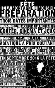 Affiche de préparation de la fête de la montagne Limousine 2016